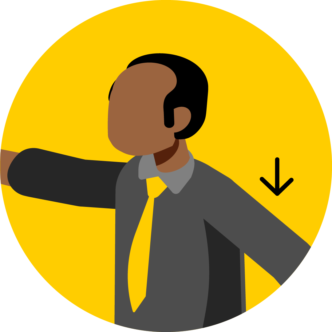 Illustration of a man having trouble lifting one of his arms