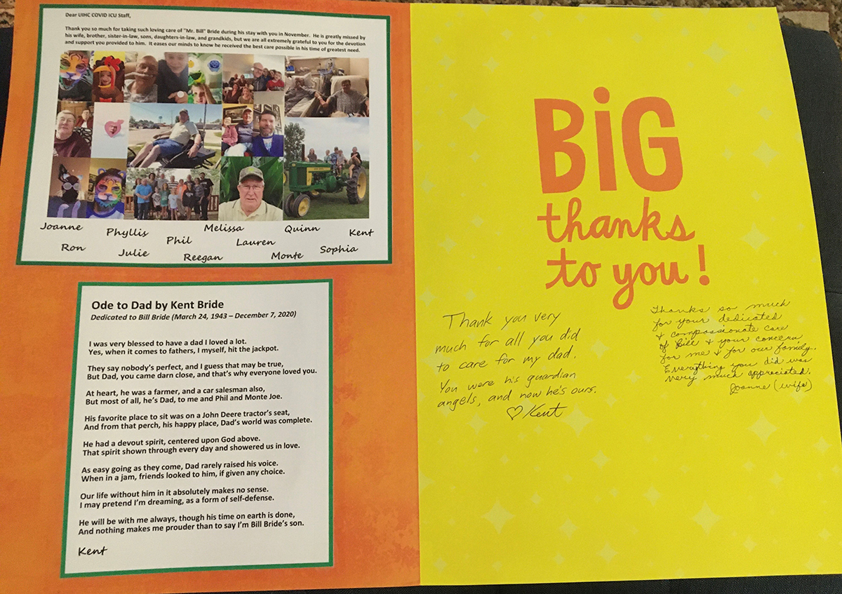 Thank you card from the Bride family to UI Health Care staff
