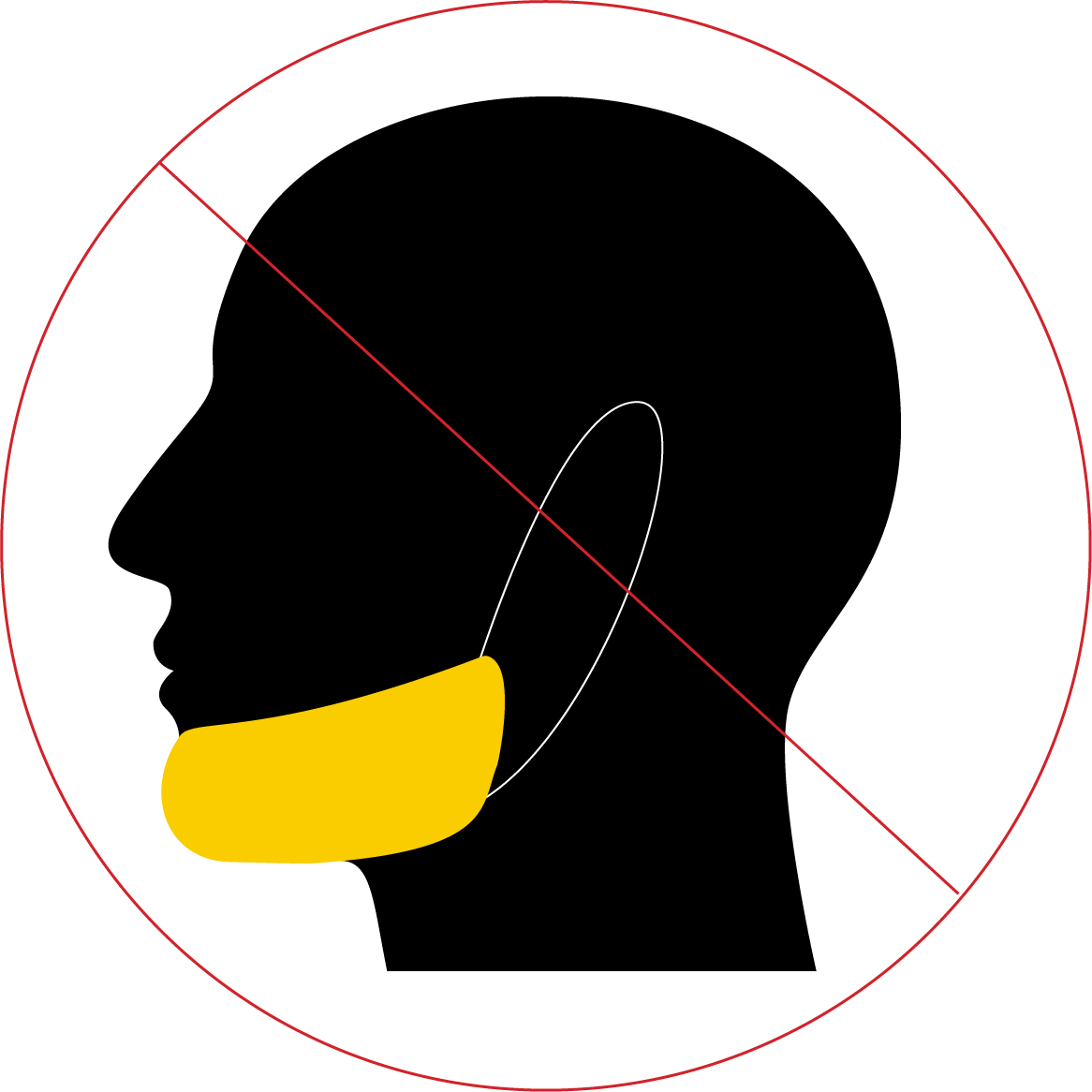 Crossed out illustration of a person wearing a loose mask under their chin.
