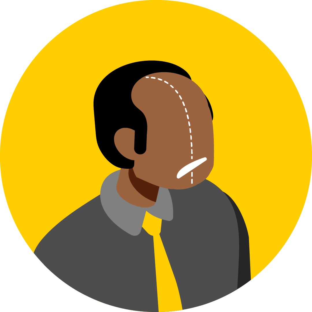 Illustration of a man whose face does not look symmetrical