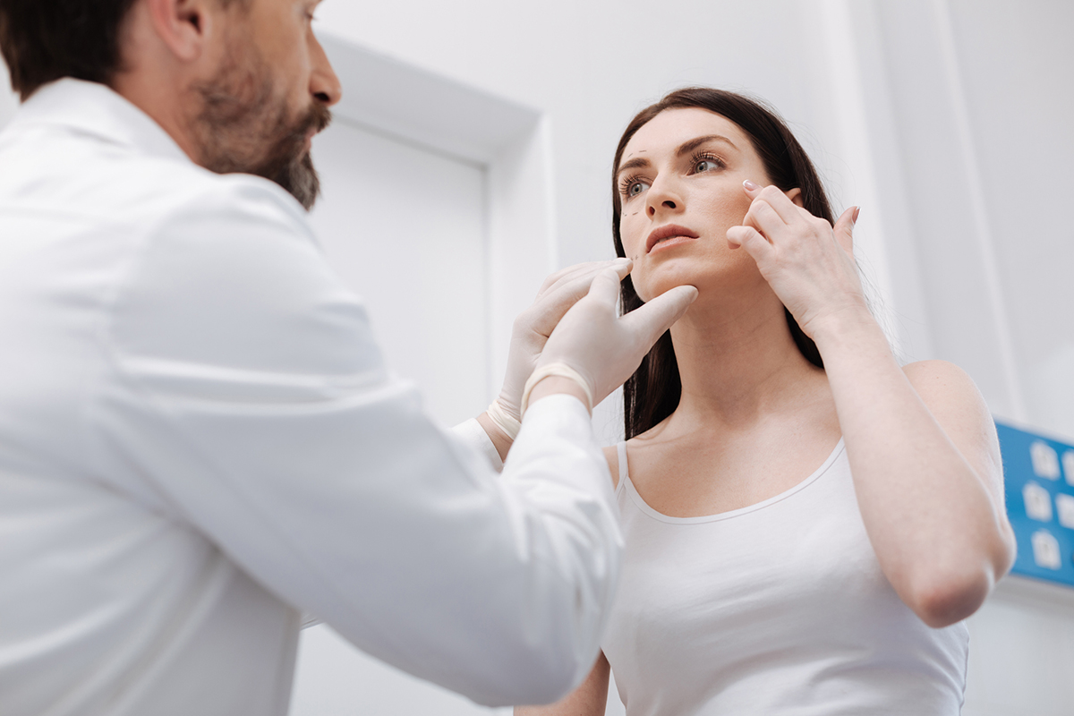 Provider and patient discuss changes to the patient's face