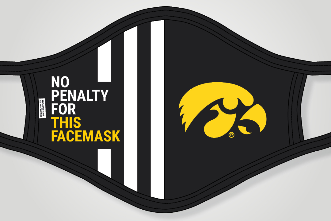Facemask with the Hawkeye logo and