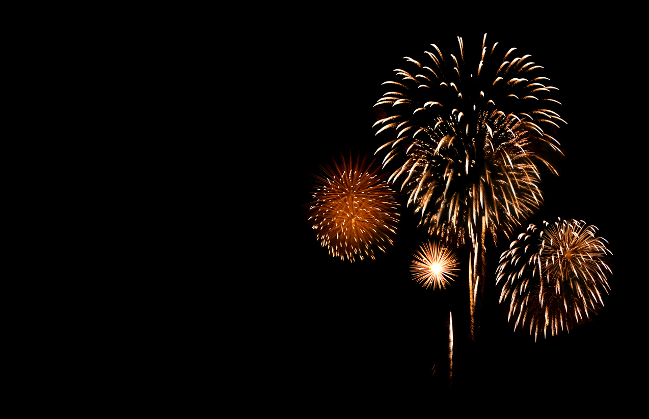 Stock photograph of a fireworks display