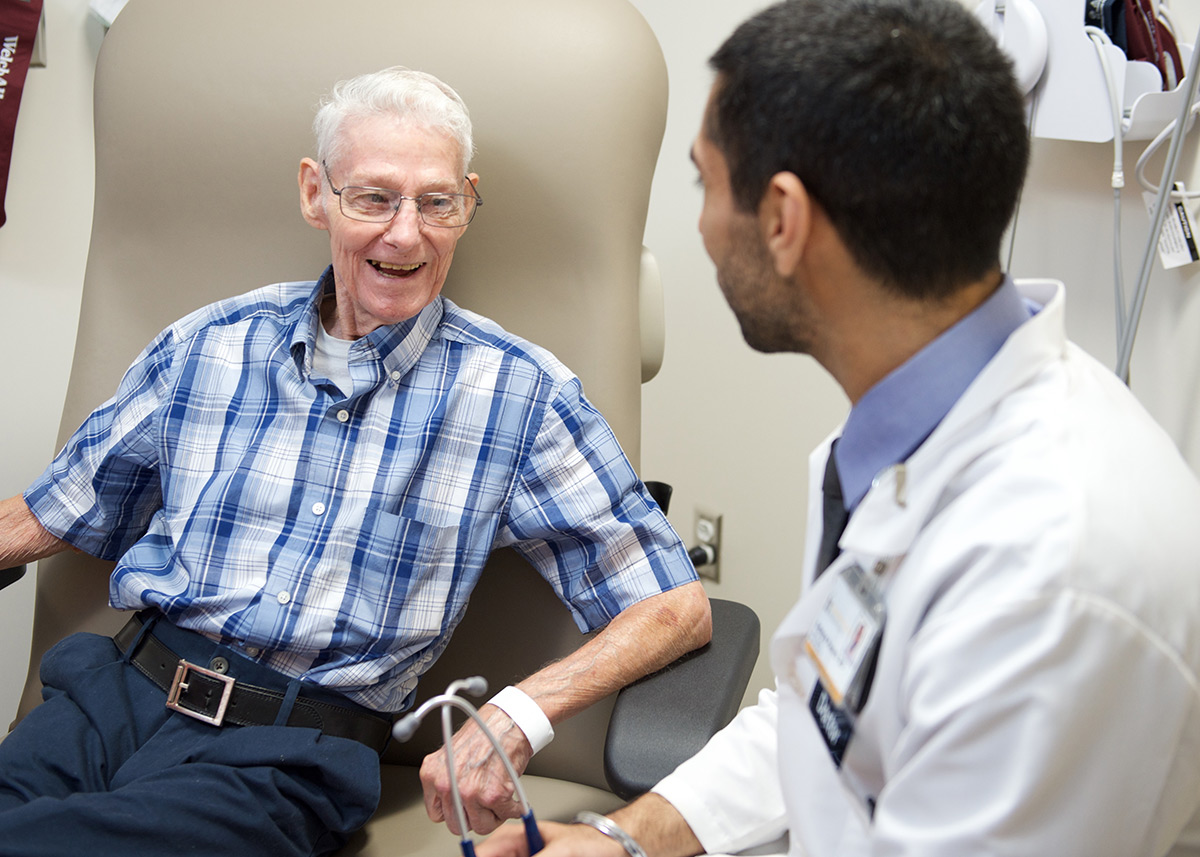 heart patient in clinic with doctor