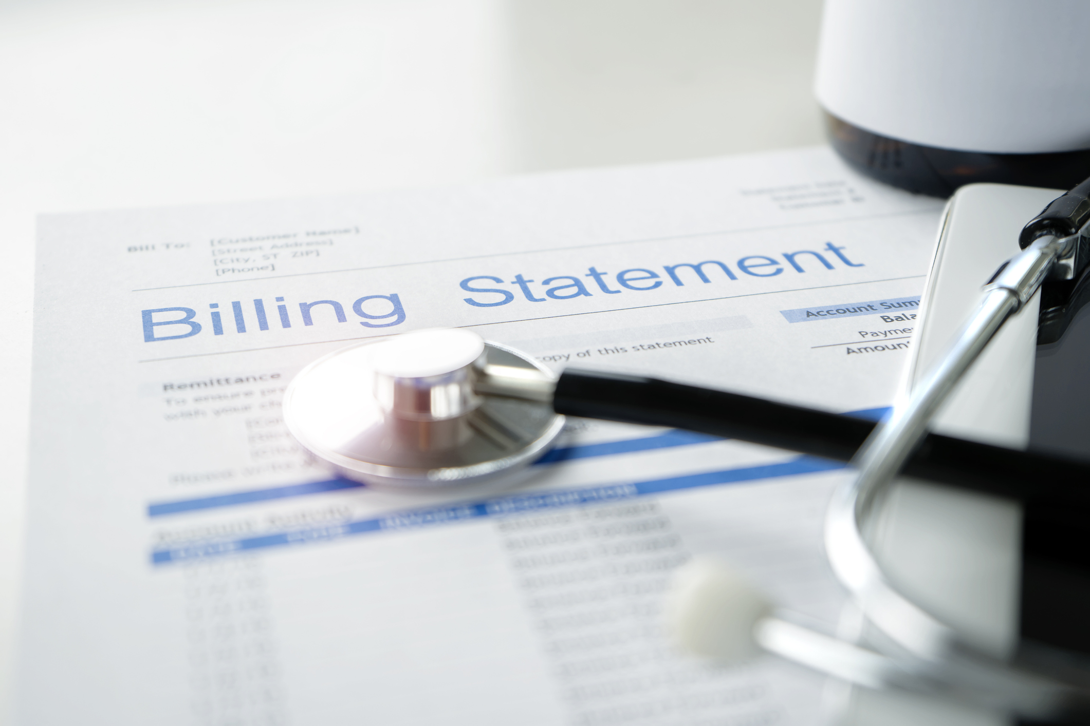 Stock image of a patient's billing statement