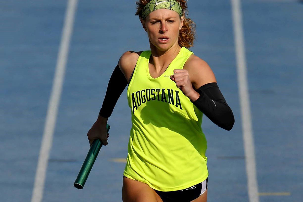 Kate Benge running in a race at Augustana College