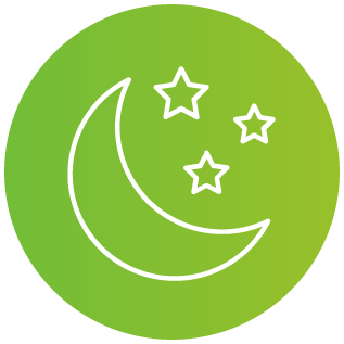 Illustration of a star and crescent moon