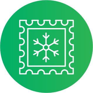 Illustration of a postage stamp featuring a snowflake