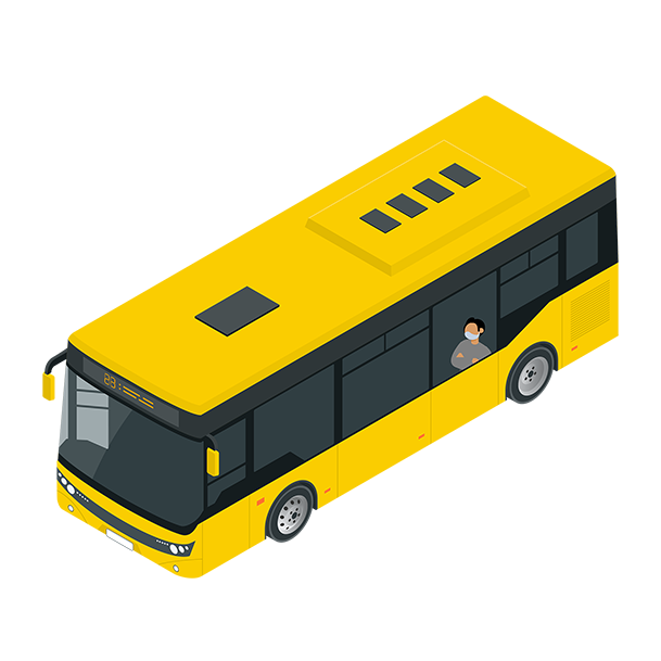 Illustration of a man wearing a mask while riding the bus