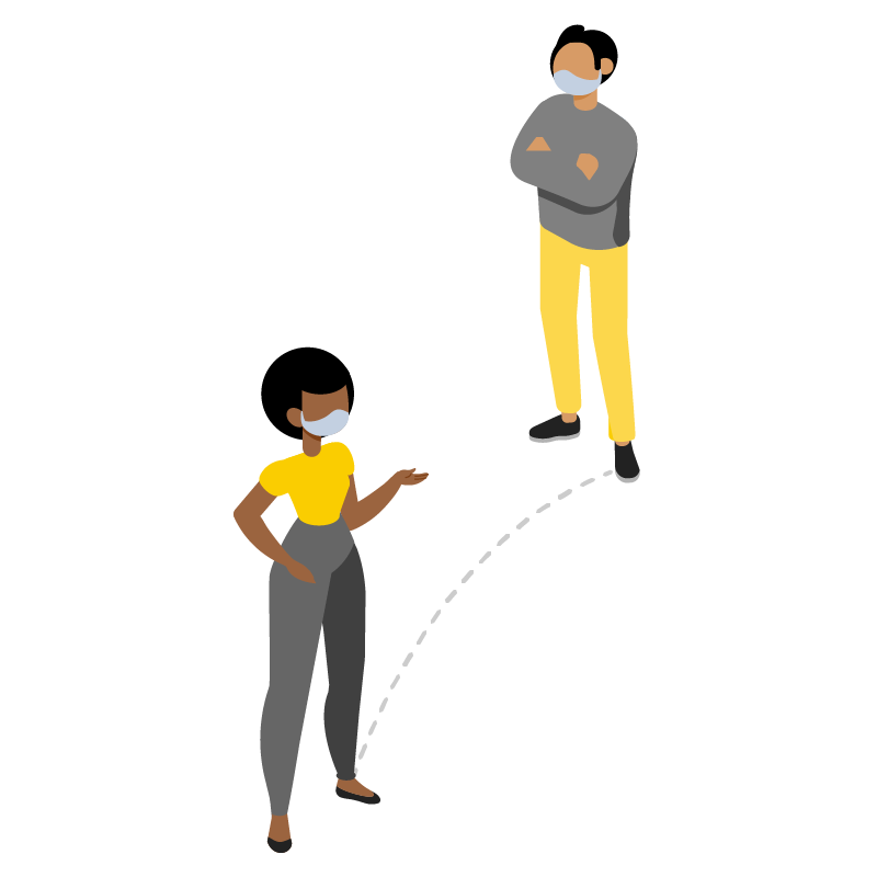 Illustration of two people standing 6 feet apart