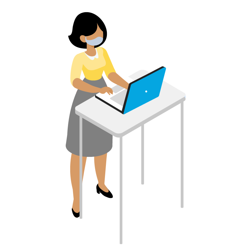 Illustration of a person using a computer