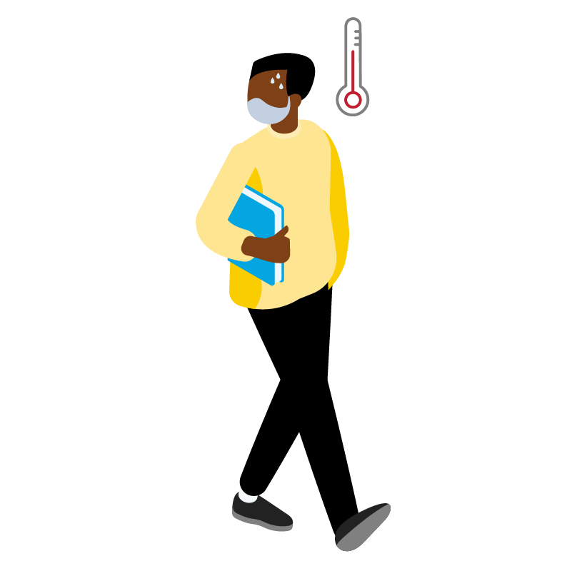 Illustration of a person and a thermometer