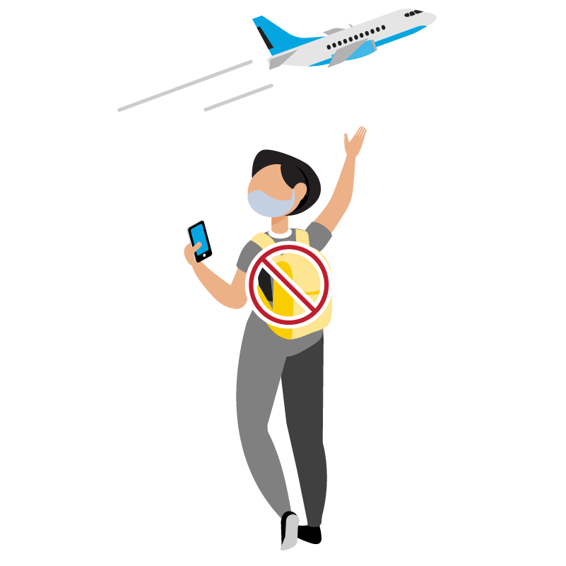 Illustration of a person that is wearing a mask waving at a plane flying away