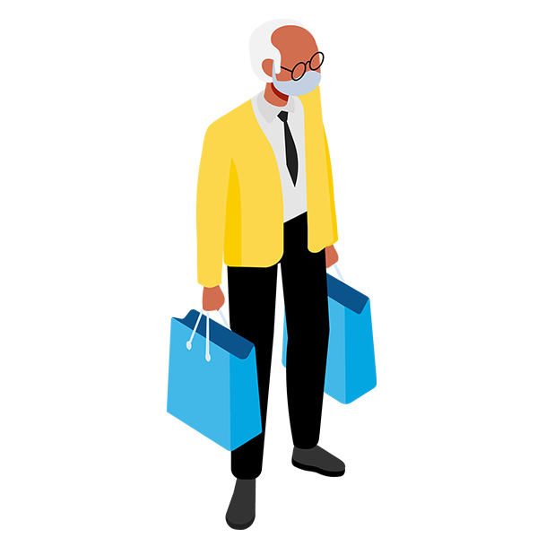 Illustration of a man shopping while wearing a mask