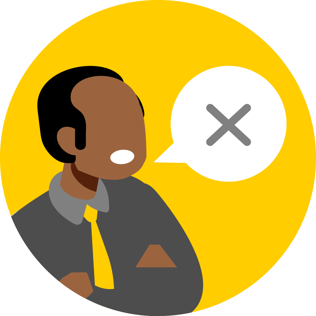 Illustration of a man having trouble speaking