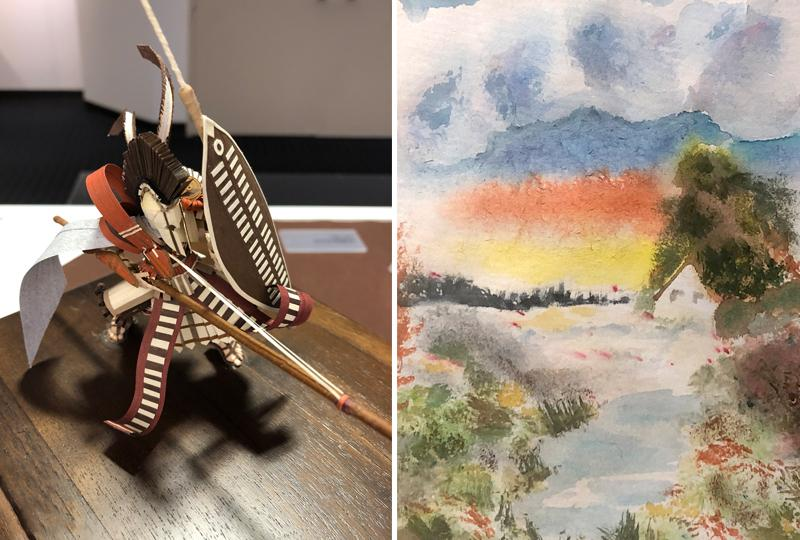 Left: Jonathan Kusner, Zulu Centurion, quilled paper; Right: Alysia Haman, Cottage Home, watercolor on paper