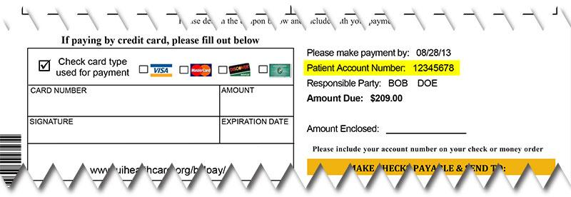 Patient account billing invoice