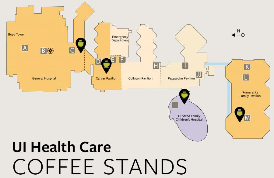 map showing locations of coffee stands in UI Hospitals & Clinics