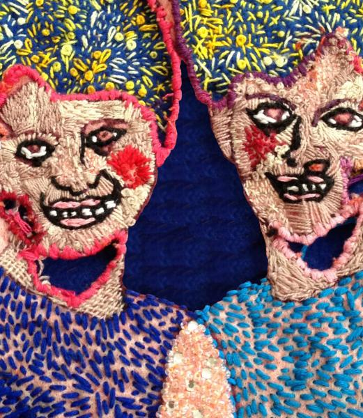 Amber Morris, Dear Mothers (detail), Hand embroidery and beading on cotton
