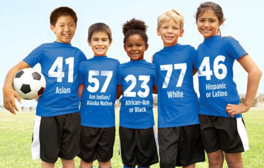 Group of kids in soccer uniforms