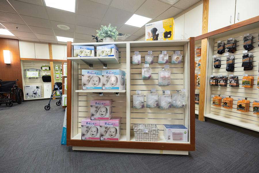 View of shelves inside fo the UI Home Solutions Medical Supply Store
