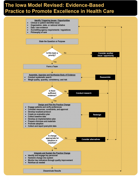 A flowchart of the Iowa Model for Evidence-Based Care