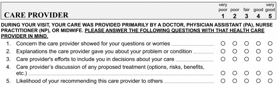 provider questionnaire