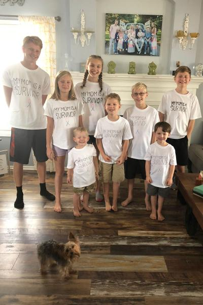 Shilo Dahlgren's children wearing my mom is a surviver shirt