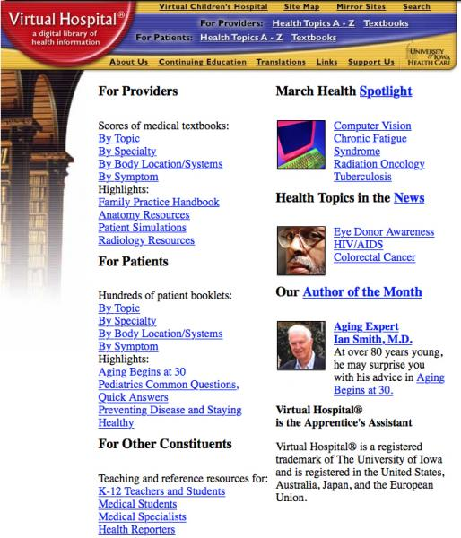 Screenshot of Virtual Hospital vh.org home page