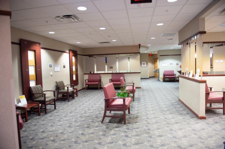 Waiting room at UI Health Care with furniture spaced for social distancing