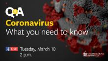 Coronavirus Q and A graphic about the livestream
