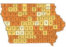 Iowa map showing county HPV vaccine rates