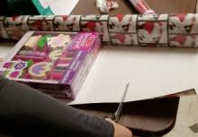 gift being wrapped