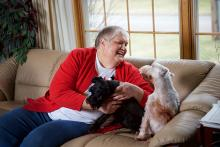 Linda Sliefert at home with her dogs