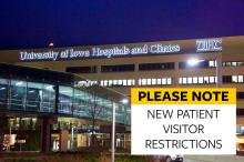 UIHC Hospital image with callout box about new patient visitor restrictions