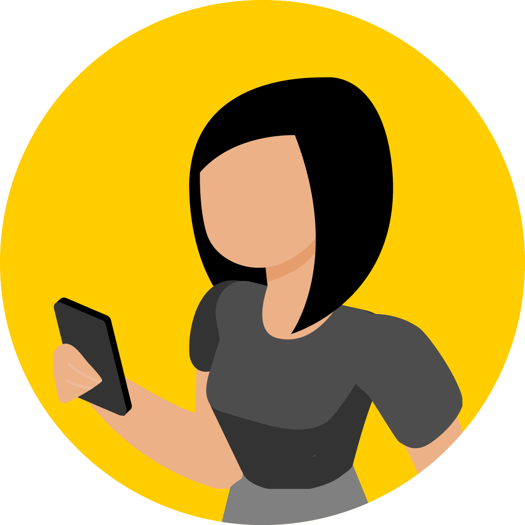 Illustration of a woman holding a cell phone