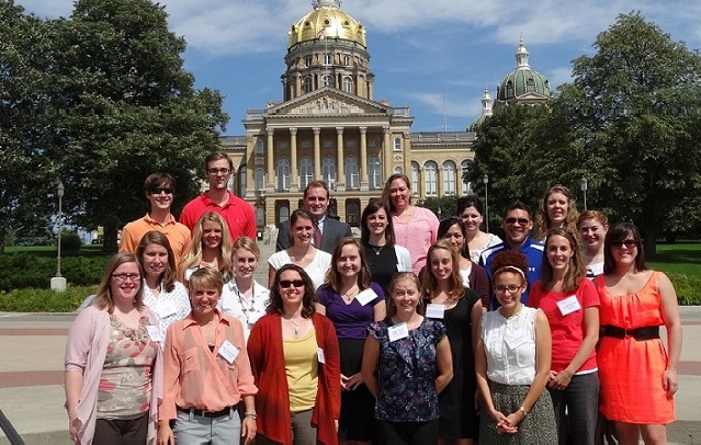 Group photo of Iowa LEND trainees at the State Capitol