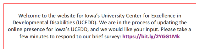 link to annual UCEDD website satisfaction survey