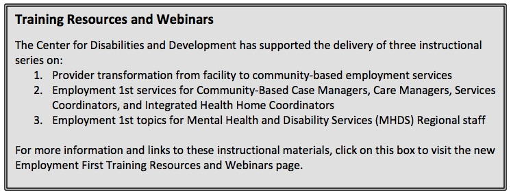 Training Resources and Webinars page link